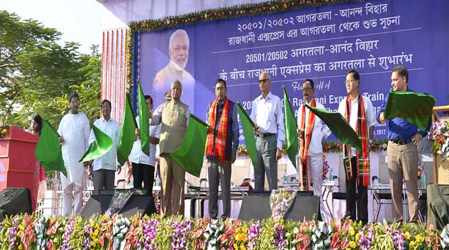 Rajen Gohain Flags off Agartala – New Delhi Rajdhani Express