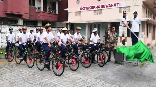 Assam: ADG NCC Flags Off Cycle Rally at Guwahati